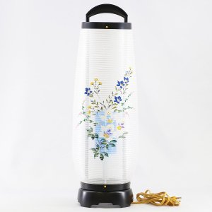 盆提灯 回転灯  回転 あけぼの 絹張り 芙蓉 5号  プラスチック製 電気コード式 回転灯 (回転 筒付き) marutomi-a