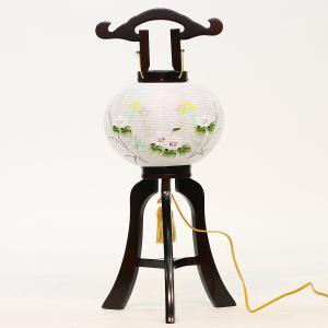 盆提灯 置き型提灯 廻転灯  マグネット式 芙蓉回転 絹二重 ブラウン色塗 8号  絹 二重 木製 電気コード式 回転灯 (回転 筒付き) 簡単組立 磁石 マグネット式 marutomi-a