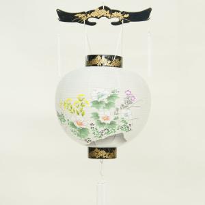 盆提灯   尺一御殿丸 岩に芙蓉  プラスチック製 ロウソク ローソク(別売り)|marutomi-a