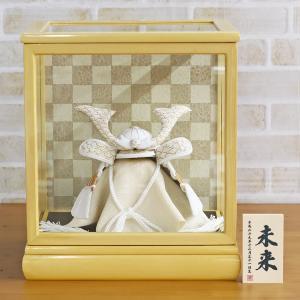 五月人形 兜 兜ケース飾り WHITE STYLE ちりめん兜 (白金) 波鍬 白木ケース飾り ケース入り コンパクト おしゃれ|marutomi-a