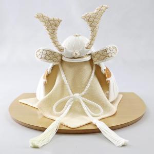 五月人形 兜 兜飾り WHITE STYLE ちりめん兜 (白金) 波鍬 ハードメイプル突板 半円形敷板 コンパクト おしゃれ|marutomi-a