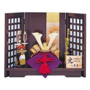 五月人形 兜 兜飾り 久月 本金箔押 正絹赤糸縅 8号 兜飾り 針松格子屏風 コンパクト おしゃれ marutomi-a