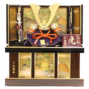 五月人形 兜 兜収納飾り 久月 正絹朱中白縅 10号 兜飾り 収納箱 コンパクト おしゃれ marutomi-a