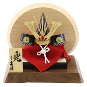 五月人形 兜 兜飾り 久月 ミニ兜 越前竹人形 高級木材使用飾り台・衝立 コンパクト おしゃれ|marutomi-a