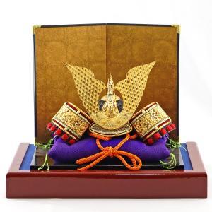 五月人形 兜 兜飾り 龍頭付 極上出世兜 飾り台付き コンパクト おしゃれ|marutomi-a