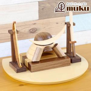 五月人形 兜 木製兜飾り 木製 無垢材の兜 muku (むく) 伊達政宗 弓・太刀セット ハードメイプル突板 半円形敷板 コンパクト おしゃれ|marutomi-a