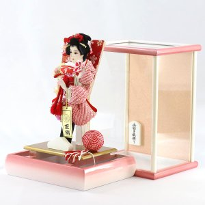 羽子板 お祝い 初正月 7号 宴 パール白木/パールピンクケース ミニ コンパクト marutomi-a 03