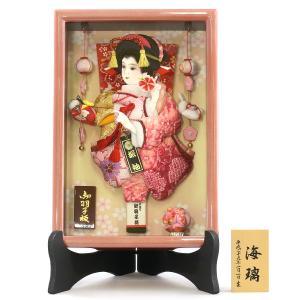 羽子板 お祝い 初正月 8号 壁掛け 額飾り のぞみ つるし飾り付き パールピンク スタンドセット 絞り振袖 ミニ コンパクト|marutomi-a