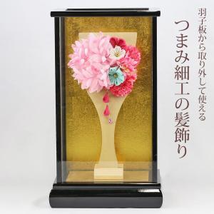 羽子板 お祝い 初正月 つまみ細工 髪飾り ピンク 花咲く羽子板 黒塗りケース飾り|marutomi-a