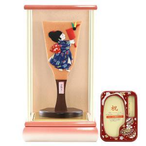 羽子板 お祝い 初正月 わらべ羽子板 はねつき 白ピンク塗りケース飾り オルゴール写真立て付き|marutomi-a