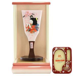 羽子板 お祝い 初正月 わらべ羽子板 春の訪れ 白ピンク塗りケース飾り オルゴール写真立て付き|marutomi-a