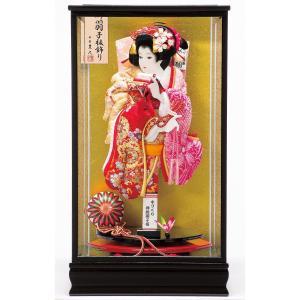 羽子板 お祝い 初正月 平安豊久 17号 春日 面取りガラス 黒塗りケース飾り|marutomi-a