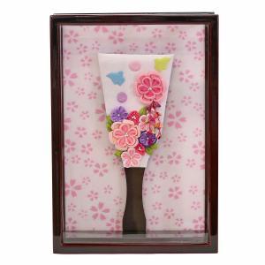 羽子板 お祝い 初正月 壁掛け 額飾り 姫羽子板 極上摘み細工 千鳥 ピンク 紅溜塗り アクリルケース marutomi-a