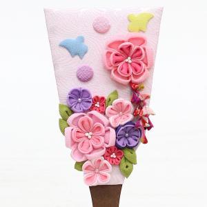 羽子板 お祝い 初正月 姫羽子板 極上摘み細工 千鳥 ピンク 丸型 円形 白檀塗り つるし付き アクリルケース marutomi-a 02