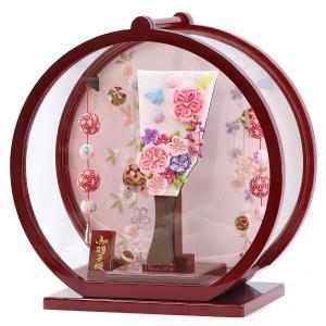 羽子板 お祝い 初正月 姫羽子板 極上摘み細工 千鳥 ピンク 丸型 円形 白檀塗り つるし付き アクリルケース marutomi-a 03