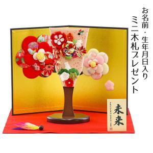 羽子板 お祝い 初正月 姫羽子板 極上摘み細工 うさぎ 赤 花満開屏風 敷き布 羽根 鞠 オルゴール写真立て付き|marutomi-a