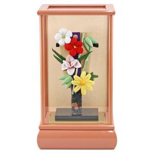羽子板 お祝い 初正月 ちりめん細工 豆羽子板 四君子花飾り ピンク塗り ケース|marutomi-a