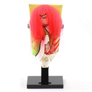 羽子板 お祝い 初正月 豆羽子板 鏡獅子 (赤) 飾り台付|marutomi-a