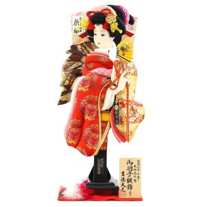 羽子板 お祝い 初正月 吉徳 18号 羽子板 立体振袖 羽根 敷き布 飾り台付き|marutomi-a