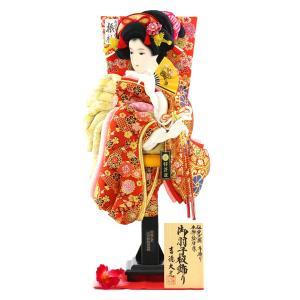羽子板 お祝い 初正月 吉徳 20号 羽子板 立体振袖 羽根 敷き布 飾り台付き|marutomi-a