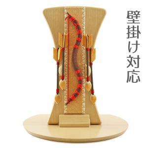 破魔弓 壁掛け 木製・ちりめん インテリア破魔弓 赤紐 半円形敷板セット 初正月 破魔矢|marutomi-a