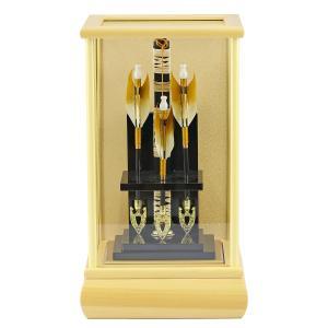 破魔弓 コンパクト リュウコドウ 三本立ち 桧色塗りケース飾り 初正月 破魔矢|marutomi-a