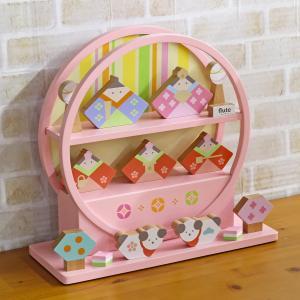 雛人形 コンパクト 木製のおひなさま flute HINA フルート 5人飾り お伽犬 円形 丸型 飾り台 ピンク塗り marutomi-a