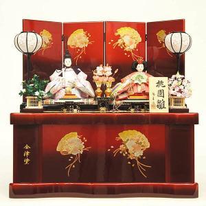 雛人形 コンパクト 収納 陽菜作 会津塗り 桃園雛 親王収納飾り|marutomi-a