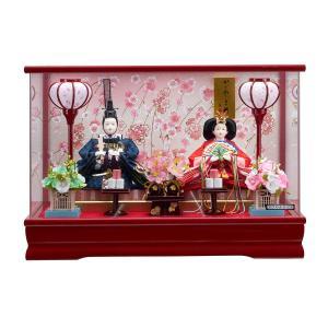 雛人形 コンパクト ケース入り 藤翁 愛里 刺繍仕立て 小三五親王飾り  (赤) オルゴール付き アクリルケース|marutomi-a