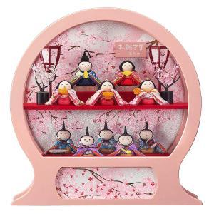雛人形 コンパクト ケース入り 藤翁 ちりめん舞あそび 桃 わらべ 十人飾り オルゴール付き 円形 丸型 手鏡型ケースアクリルケース飾り|marutomi-a