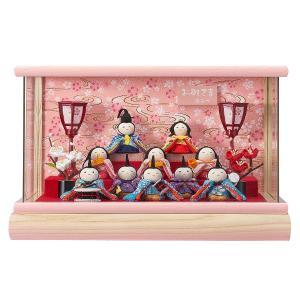 雛人形 コンパクト ケース入り 藤翁 ちりめん夢あそび わらべ 十人飾り Wオークアクリルケース飾り|marutomi-a