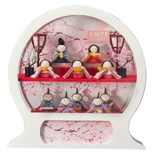 雛人形 コンパクト ケース入り 藤翁 ちりめん舞あそび 白 わらべ 十人飾り オルゴール付き 円形 丸型 手鏡型ケースアクリルケース飾り|marutomi-a