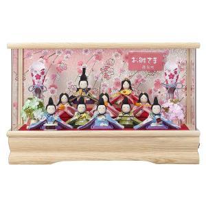 雛人形 コンパクト ケース入り 藤翁 ちりめん花の詩 ほほ笑み 十人飾り コードレス雪洞 Wオークアクリルケース飾り|marutomi-a