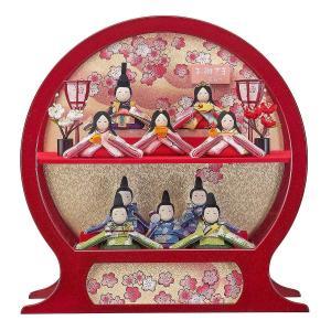 雛人形 コンパクト ケース入り 藤翁 ちりめん星の詩 ほほ笑み 十人飾り オルゴール付き 円形 丸型 手鏡型ケースアクリルケース飾り|marutomi-a