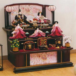 雛人形 三段 3段 平安豊久 桃香 小十番親王 小三五官女揃い 五人 三段飾り marutomi-a