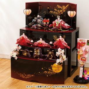 雛人形 三段 収納 3段 平安豊久 春風 芥子親王 柳官女揃い 五人 三段収納飾り (引き出し式収納箱)|marutomi-a