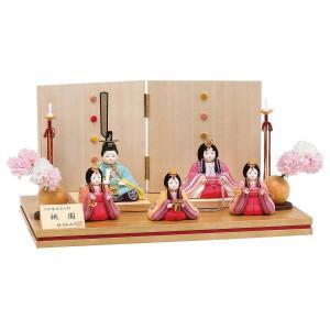 雛人形 コンパクト 木目込み 平安豊久 柿沼東光作 桃園 五人 木目込み飾り|marutomi-a