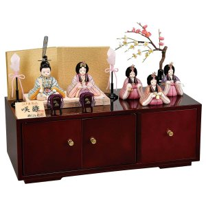 雛人形 コンパクト 木目込み 平安豊久 柿沼東光作 咲雛 五人 木目込み飾り|marutomi-a