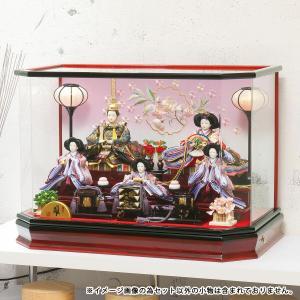 雛人形 コンパクト ケース入り 平安豊久 紫音 芥子 五人 溜塗りお道具揃え アクリルケース飾り オルゴール付き marutomi-a