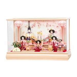 雛人形 コンパクト ケース入り 平安豊久 ももか 小芥子 五人 アクリルケース飾り marutomi-a