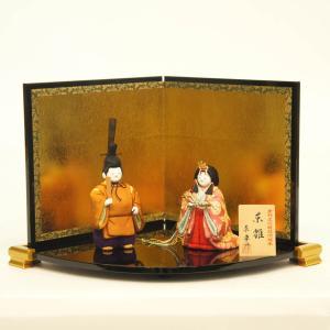 雛人形 コンパクト 木目込み 原孝洲作 東宮雛 木目込み雛人形 立雛飾り 屏風付|marutomi-a