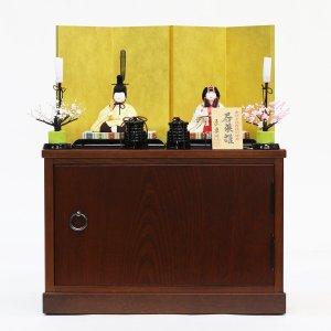 雛人形 コンパクト 木目込み 原孝洲作 若菜雛 木目込み雛人形 収納飾り 親王飾り|marutomi-a