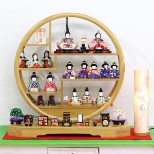 雛人形 コンパクト 木目込み 一秀 丸窓竹製円形台 十五人飾り お道具揃い|marutomi-a