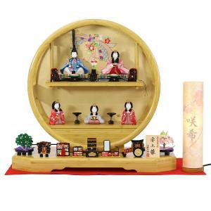 雛人形 コンパクト 木目込み 一秀 丸窓竹製円形台 五人飾り お道具揃い|marutomi-a
