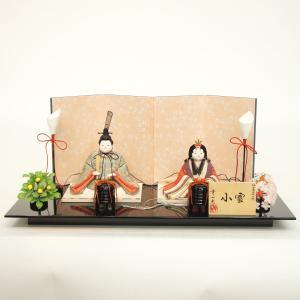 雛人形 コンパクト 木目込み 幸一光作 木目込み雛人形 親王飾り 正絹 新小雪 電気入り燭台付|marutomi-a