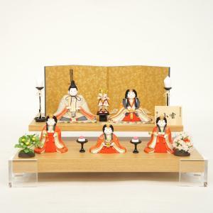 雛人形 コンパクト 木目込み 幸一光作 木目込み雛人形 五人飾り 正絹 小雪|marutomi-a