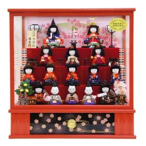 雛人形 木目込みケース(ピンク)15人 オルゴール付 marutomi-a