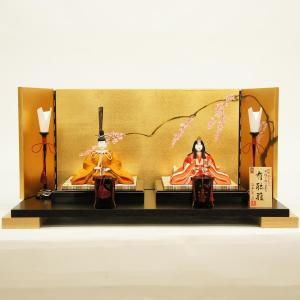 雛人形 コンパクト 木目込み 真多呂作 木目込み雛人形 伝統的工芸産業品 有職雛セット 黄櫨染桐竹鳳凰紋|marutomi-a