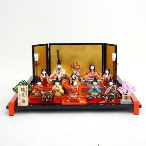 雛人形 コンパクト 木目込み 真多呂作 木目込み雛人形 瑞花雛 11人飾り|marutomi-a