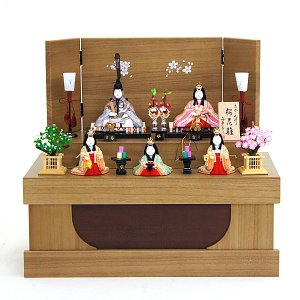 雛人形 コンパクト 木目込み 真多呂作 木目込み雛人形 桜花雛官女付 収納飾り marutomi-a